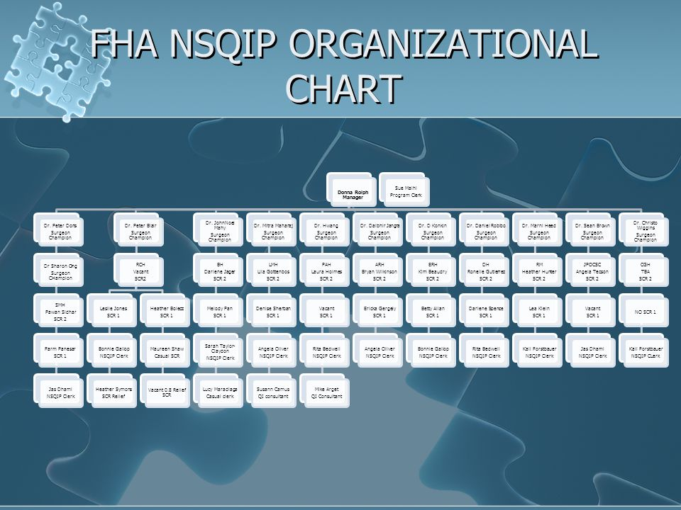 FHA NSQIP ORGANIZATIONAL CHART Donna Rolph Manager Dr.