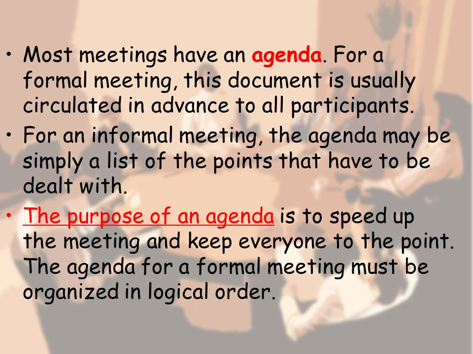 Closing the meeting Before we close, let me just summarize the main points.