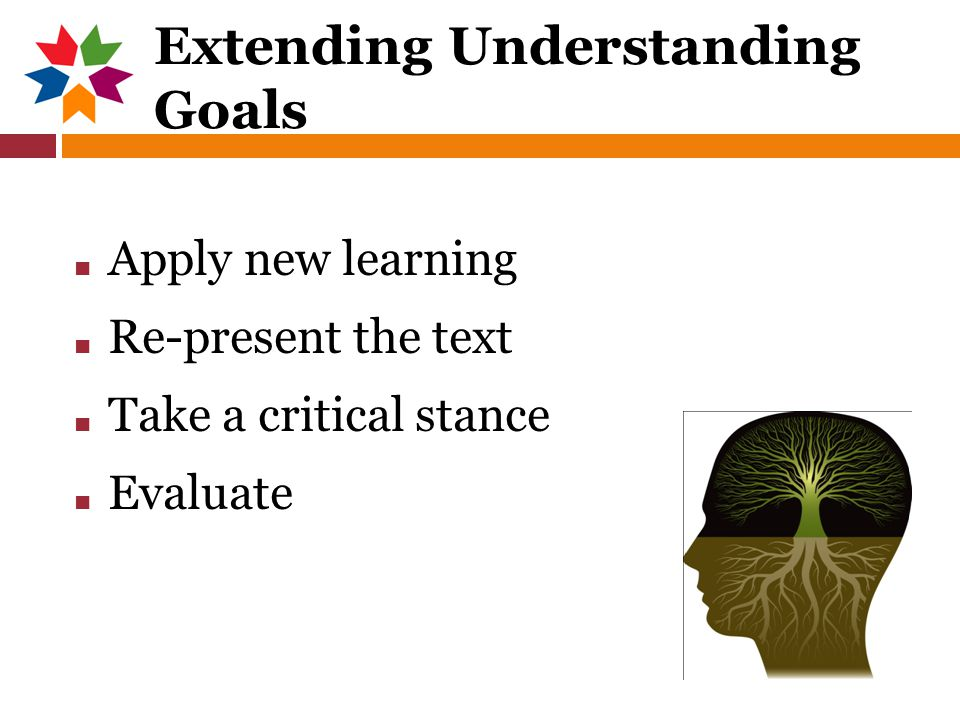 Extending Understanding Goals ■ Apply new learning ■ Re-present the text ■ Take a critical stance ■ Evaluate