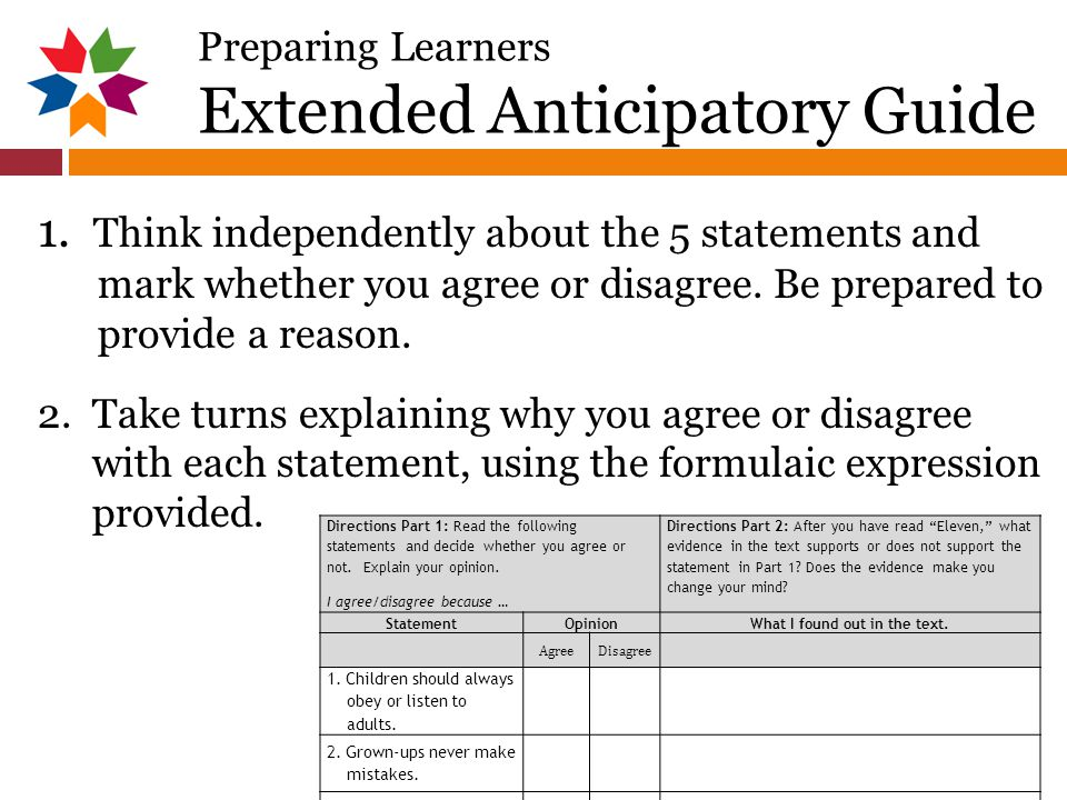 Preparing Learners Extended Anticipatory Guide 1.