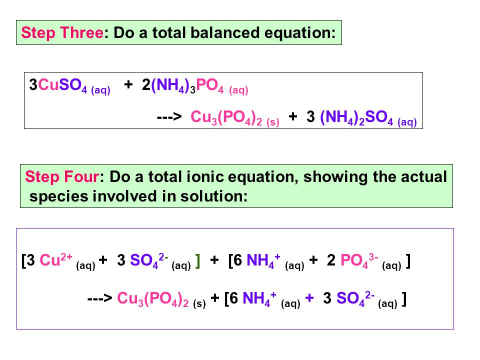 [3 Cu 2+ (aq) + 3 SO 4 2- (aq) ] + [6 NH 4 + (aq) + 2 PO 4 3- (aq) ] ---> Cu 3 (PO 4 ) 2 (s) + [6 NH 4 + (aq) + 3 SO 4 2- (aq) ] Step Three: Do a total balanced equation: 3CuSO 4 (aq) + 2(NH 4 ) 3 PO 4 (aq) ---> Cu 3 (PO 4 ) 2 (s) + 3 (NH 4 ) 2 SO 4 (aq) Step Four: Do a total ionic equation, showing the actual species involved in solution: