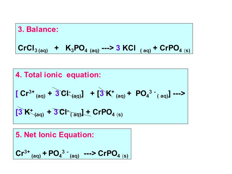 3. Balance: CrCl 3 (aq) + K 3 PO 4 (aq) ---> 3 KCl ( aq) + CrPO 4 (s) 4.