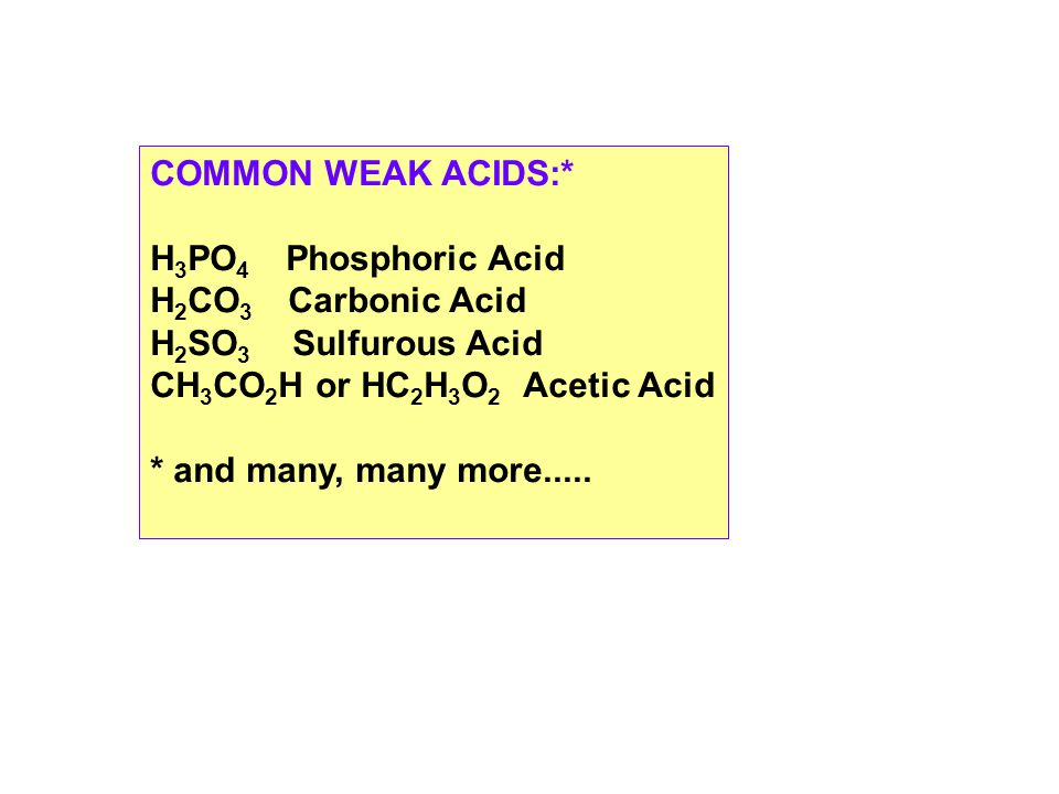 COMMON WEAK ACIDS:* H 3 PO 4 Phosphoric Acid H 2 CO 3 Carbonic Acid H 2 SO 3 Sulfurous Acid CH 3 CO 2 H or HC 2 H 3 O 2 Acetic Acid * and many, many more.....