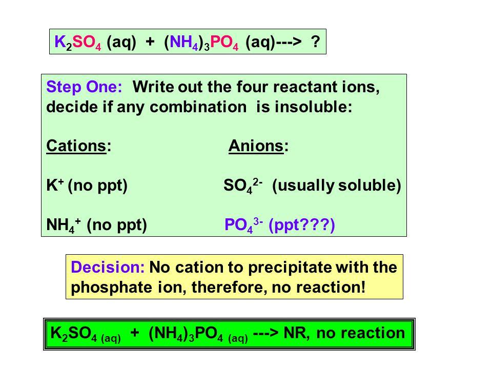 CuSO 4 (aq) + (NH 4 ) 3 PO 4 (aq)---> .Step One. Write out each reactant ion.