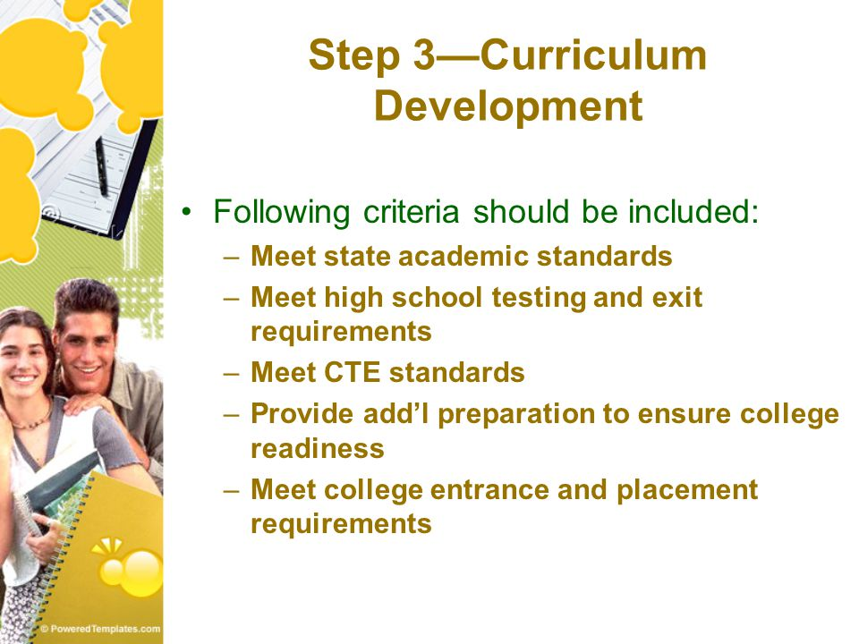 Step 3—Curriculum Development Following criteria should be included: –Meet state academic standards –Meet high school testing and exit requirements –Meet CTE standards –Provide add'l preparation to ensure college readiness –Meet college entrance and placement requirements