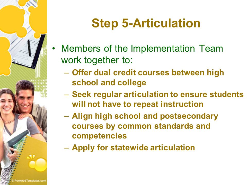 Step 5-Articulation Members of the Implementation Team work together to: –Offer dual credit courses between high school and college –Seek regular articulation to ensure students will not have to repeat instruction –Align high school and postsecondary courses by common standards and competencies –Apply for statewide articulation