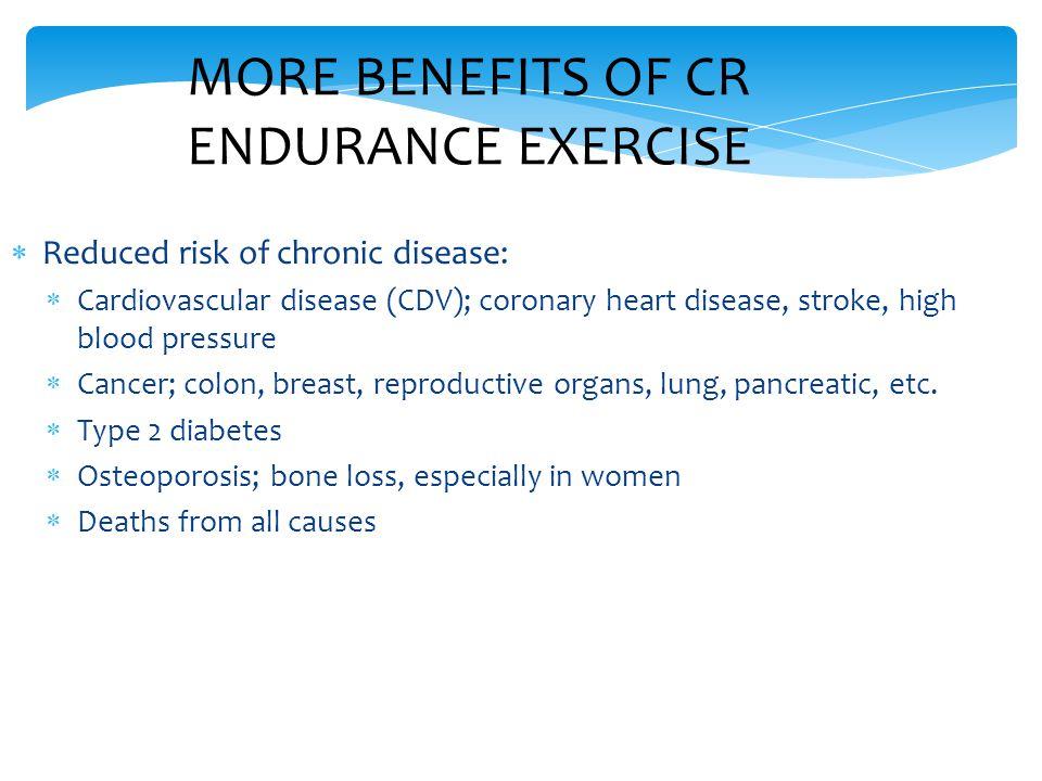  Reduced risk of chronic disease:  Cardiovascular disease (CDV); coronary heart disease, stroke, high blood pressure  Cancer; colon, breast, reprod