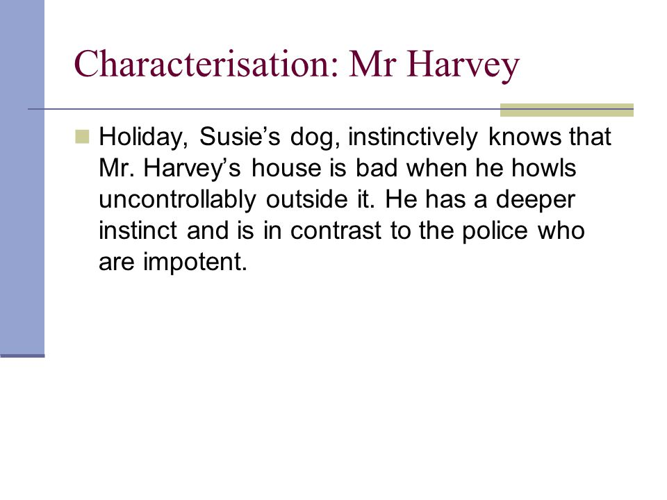 Characterisation: Mr Harvey Holiday, Susie's dog, instinctively knows that Mr.