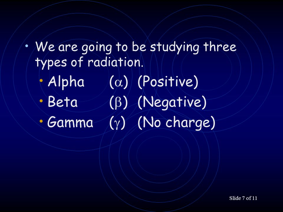 Slide 7 of 11 We are going to be studying three types of radiation. Alpha (  )(Positive) Beta (  )(Negative) Gamma (  )(No charge)