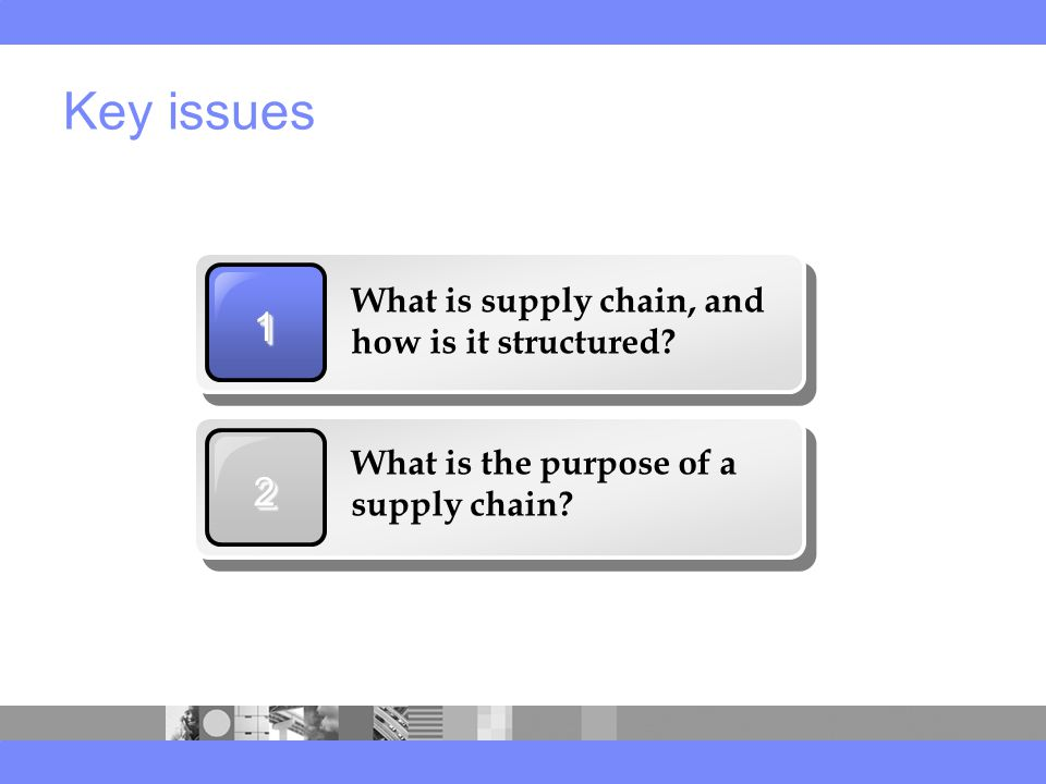 Key issues 11 What is supply chain, and how is it structured.