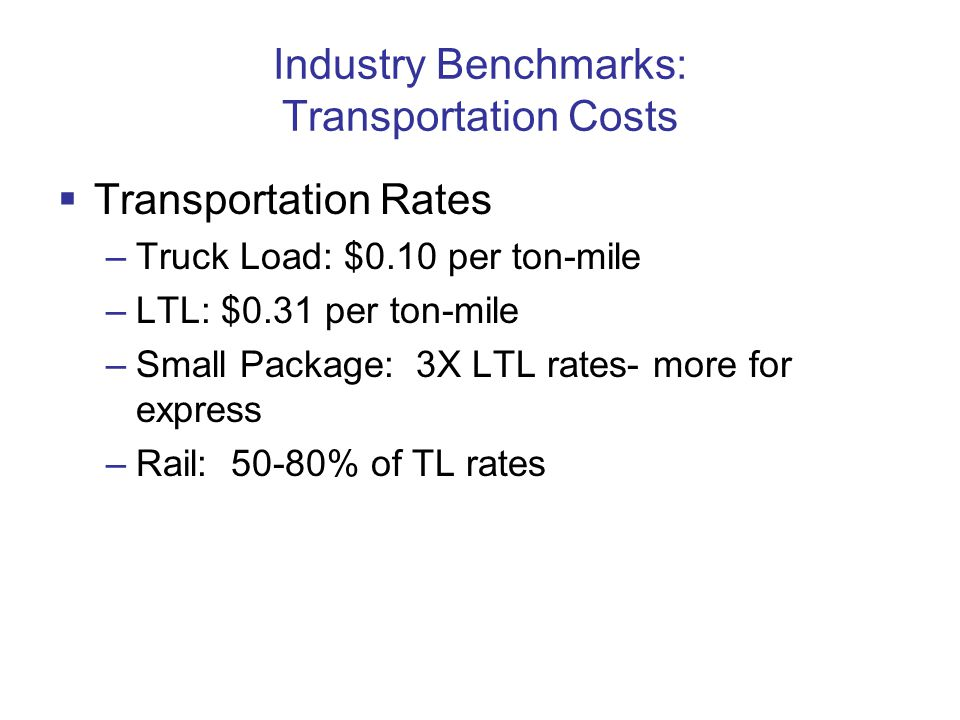 Industry Benchmarks: Transportation Costs  Transportation Rates –Truck Load: $0.10 per ton-mile –LTL: $0.31 per ton-mile –Small Package: 3X LTL rates- more for express –Rail: 50-80% of TL rates
