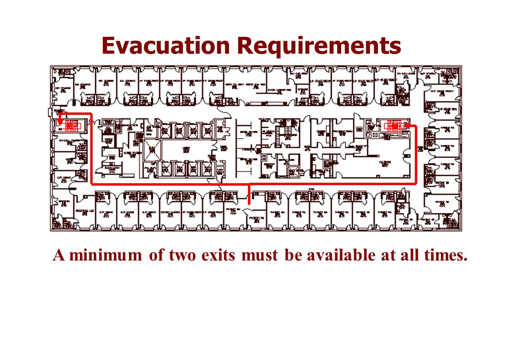 Evacuation Requirements A minimum of two exits must be available at all times.