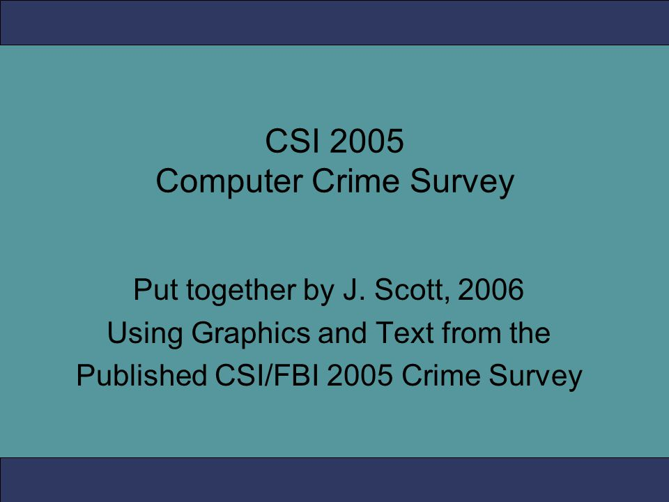 CSI 2005 Computer Crime Survey Put together by J.