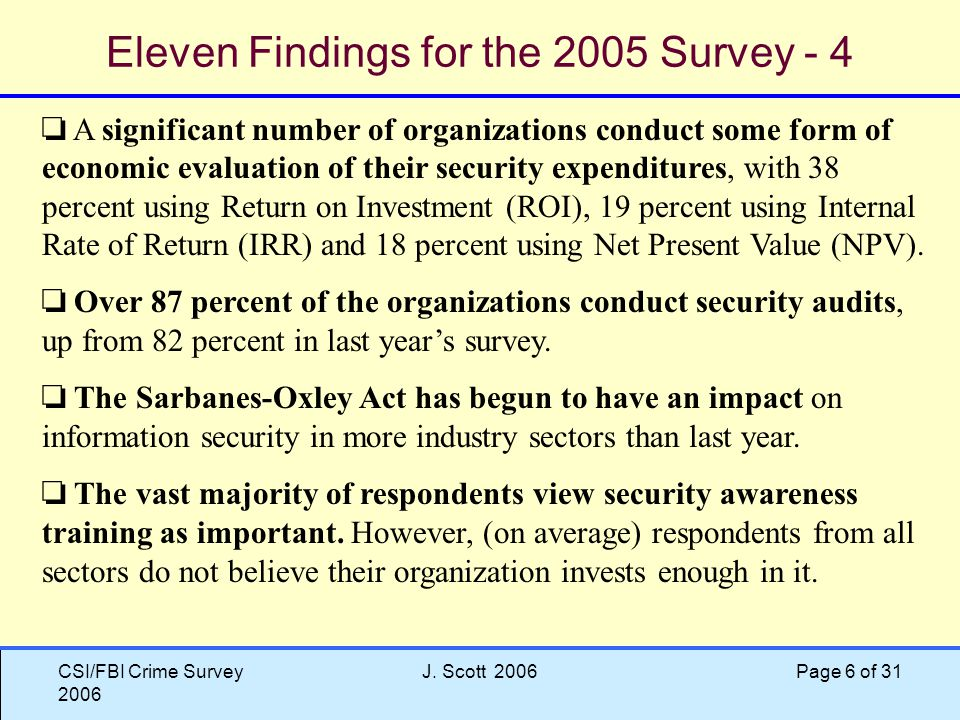 CSI/FBI Crime Survey 2006 J.