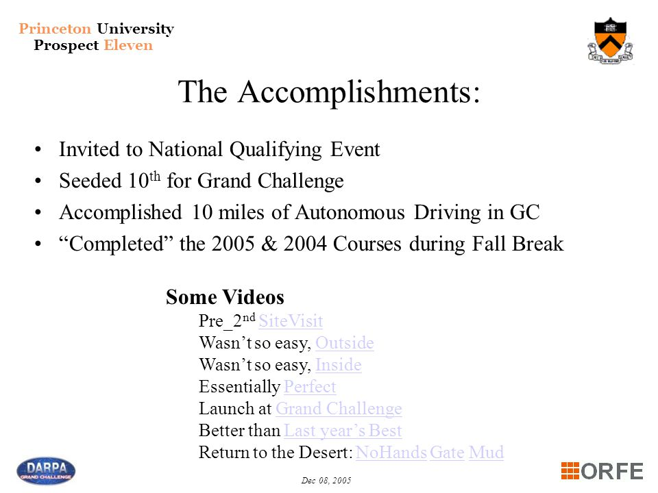 Princeton University Prospect Eleven Dec 08, 2005 The Accomplishments: Invited to National Qualifying Event Seeded 10 th for Grand Challenge Accomplis