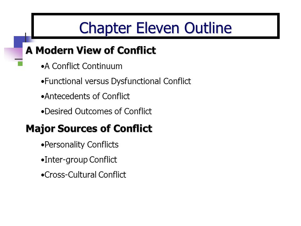 Chapter Eleven Outline A Modern View of Conflict A Conflict Continuum Functional versus Dysfunctional Conflict Antecedents of Conflict Desired Outcome
