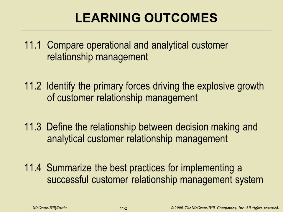 McGraw-Hill/Irwin © 2006 The McGraw-Hill Companies, Inc. All rights reserved. 11-2 LEARNING OUTCOMES 11.1Compare operational and analytical customer r
