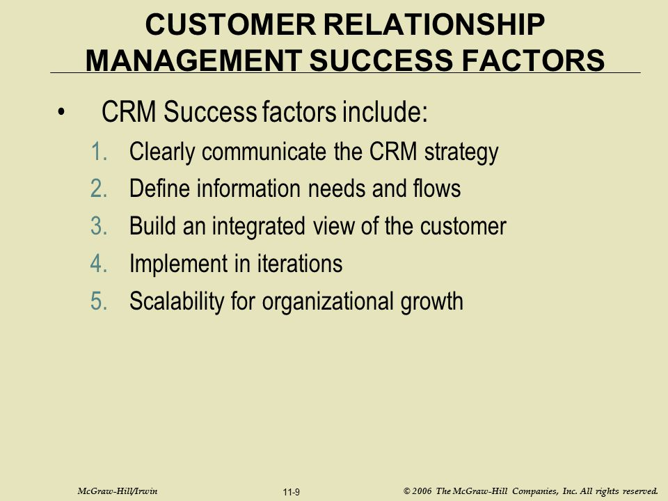 McGraw-Hill/Irwin © 2006 The McGraw-Hill Companies, Inc. All rights reserved. 11-9 CUSTOMER RELATIONSHIP MANAGEMENT SUCCESS FACTORS CRM Success factor