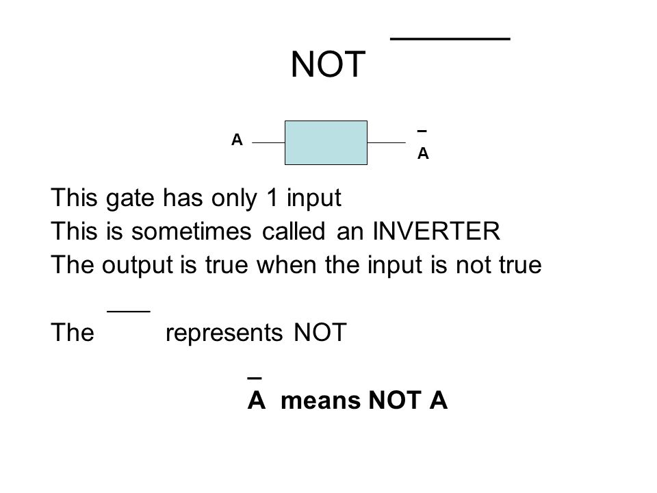 ______ NOT This gate has only 1 input This is sometimes called an INVERTER The output is true when the input is not true ___ The represents NOT _ A me
