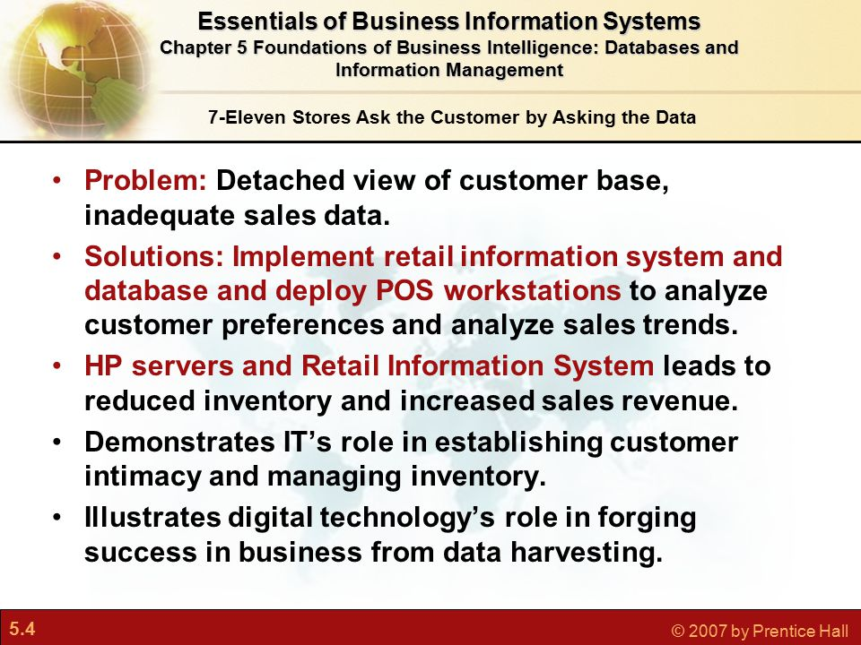 5.4 © 2007 by Prentice Hall 7-Eleven Stores Ask the Customer by Asking the Data Problem: Detached view of customer base, inadequate sales data.