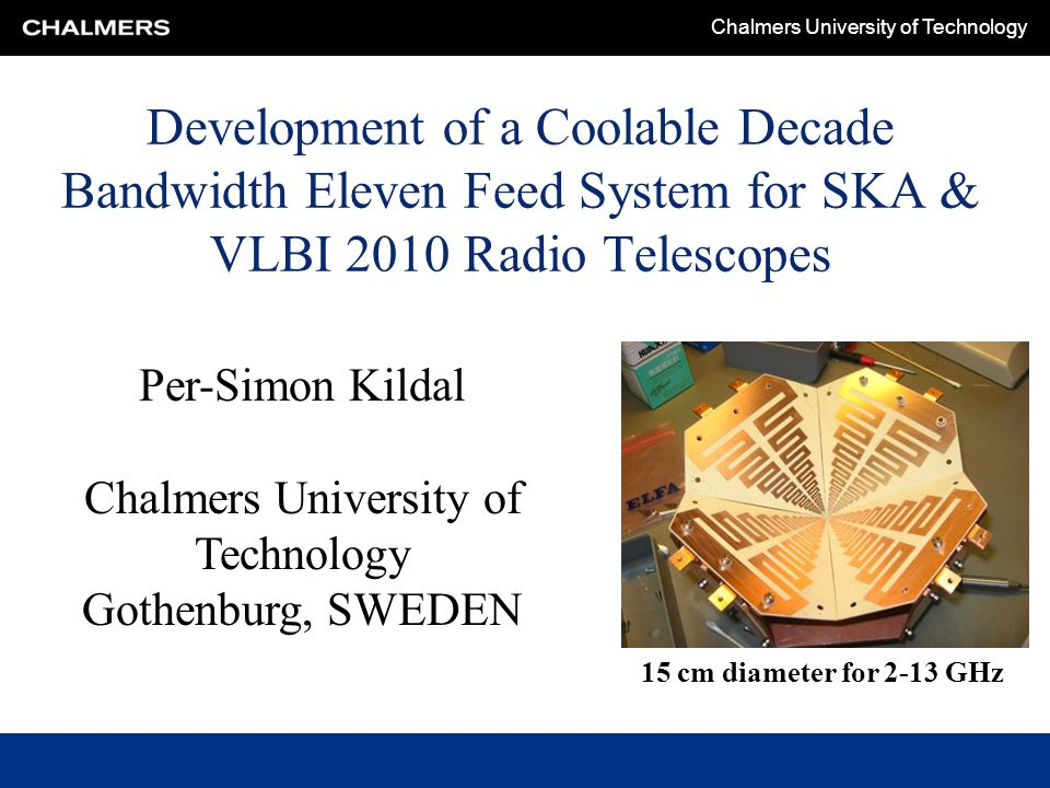 Chalmers University of Technology Early computed still valid efficiency vs.