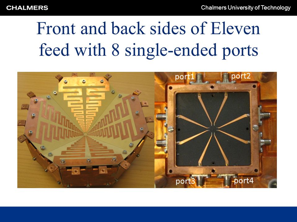 Chalmers University of Technology Front and back sides of Eleven feed with 8 single-ended ports