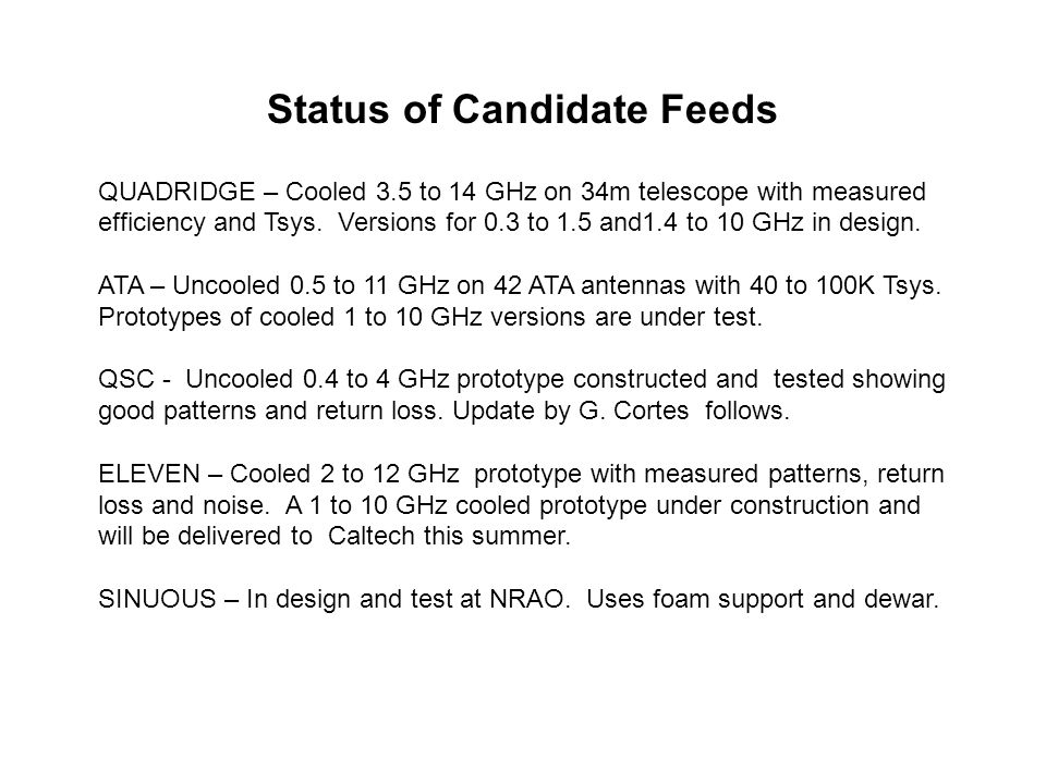 Status of Candidate Feeds QUADRIDGE – Cooled 3.5 to 14 GHz on 34m telescope with measured efficiency and Tsys. Versions for 0.3 to 1.5 and1.4 to 10 GH