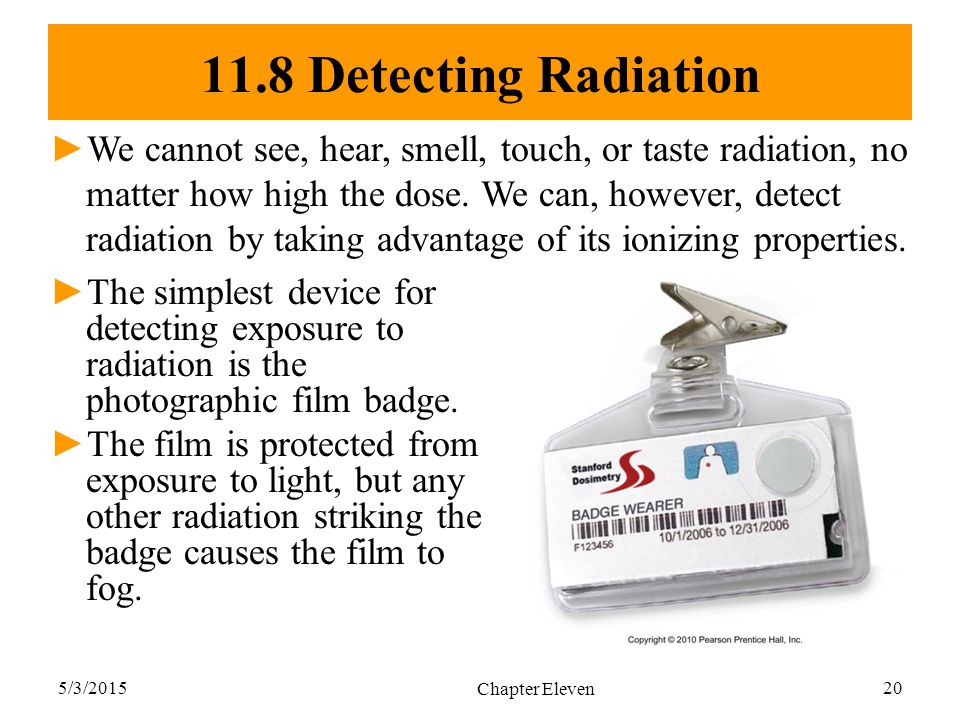5/3/2015 Chapter Eleven 20 11.8 Detecting Radiation ►The simplest device for detecting exposure to radiation is the photographic film badge. ►The film