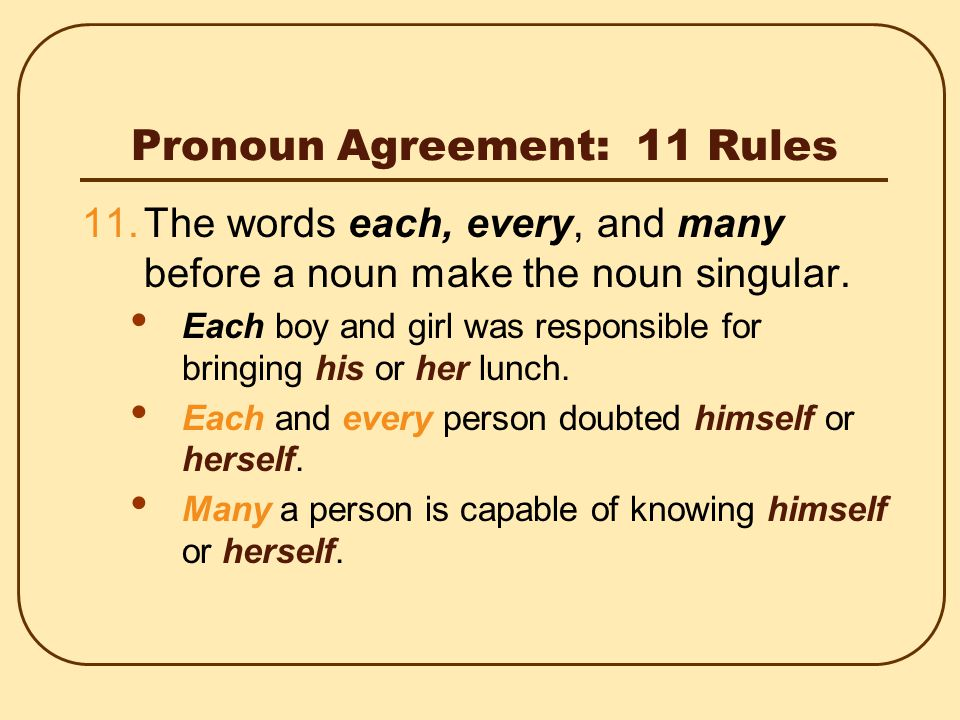 Pronoun Agreement: 11 Rules 10.When collective nouns such as team, jury, committee, and band are used as antecedents, they take a singular pronoun if they are considered as units.