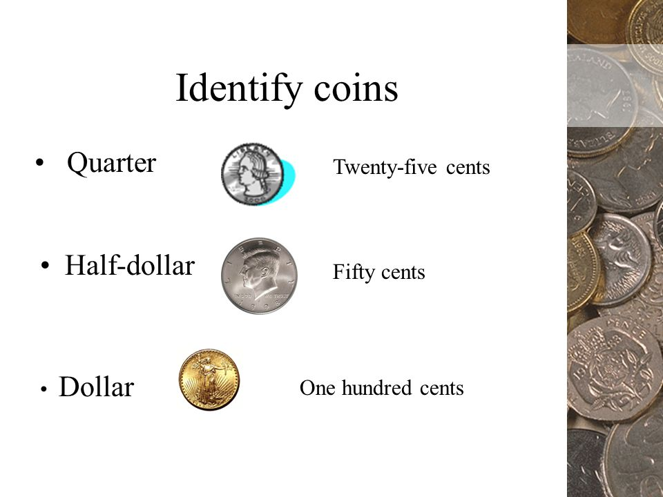 One cent Five cents Ten cents Nickel Identify coins Penny Dime