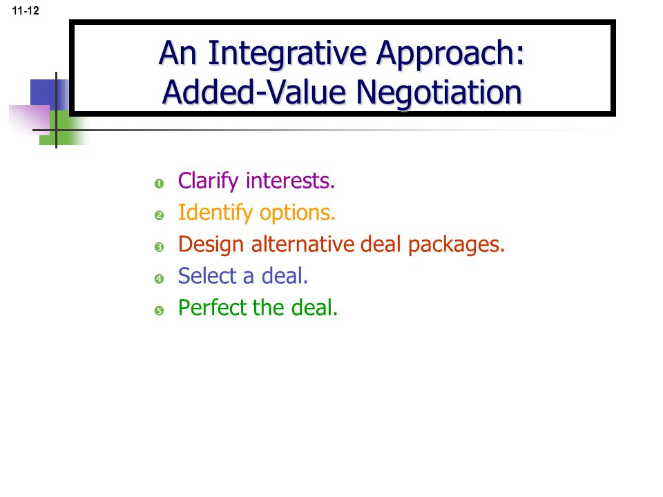  Clarify interests.  Identify options.  Design alternative deal packages.