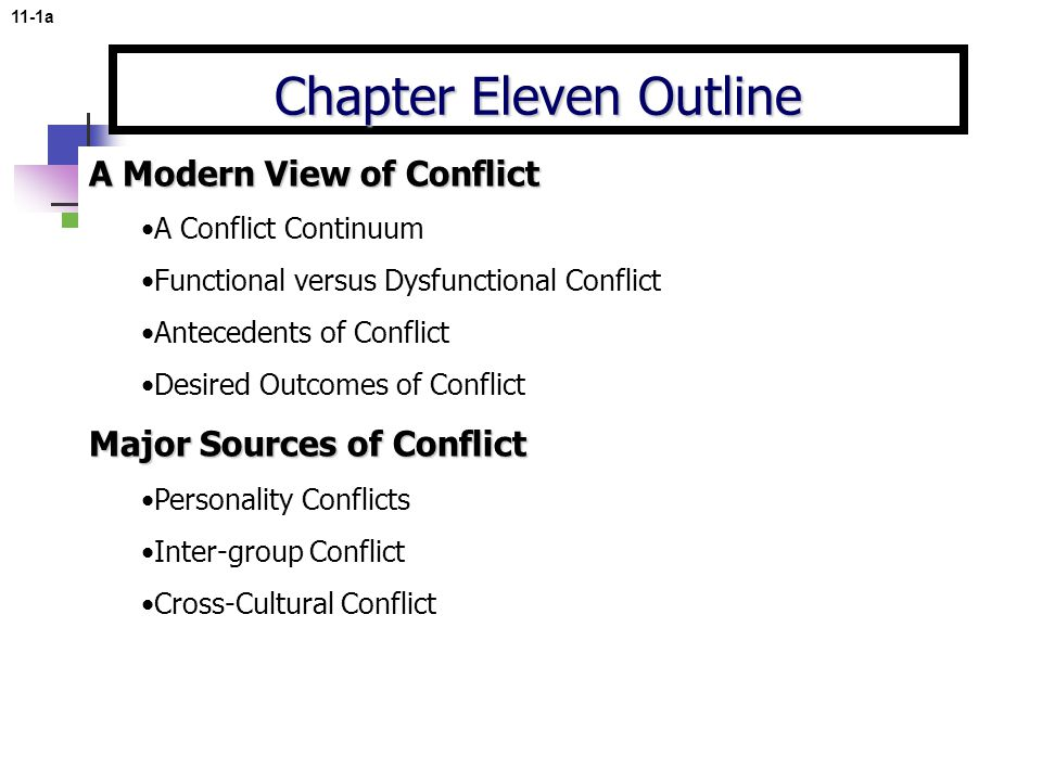 11-1a Chapter Eleven Outline A Modern View of Conflict A Conflict Continuum Functional versus Dysfunctional Conflict Antecedents of Conflict Desired Outcomes of Conflict Major Sources of Conflict Personality Conflicts Inter-group Conflict Cross-Cultural Conflict