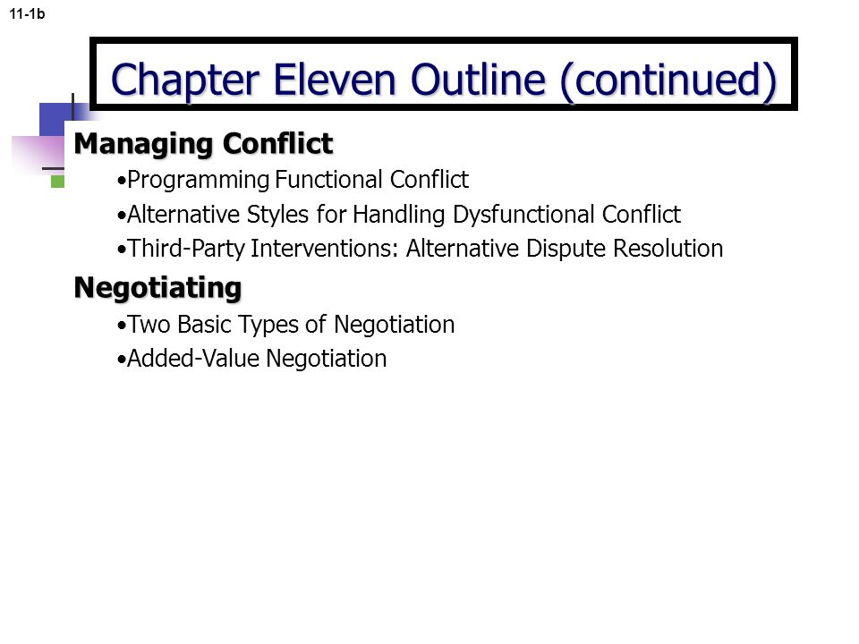 11-1b Managing Conflict Programming Functional Conflict Alternative Styles for Handling Dysfunctional Conflict Third-Party Interventions: Alternative Dispute ResolutionNegotiating Two Basic Types of Negotiation Added-Value Negotiation Chapter Eleven Outline (continued)