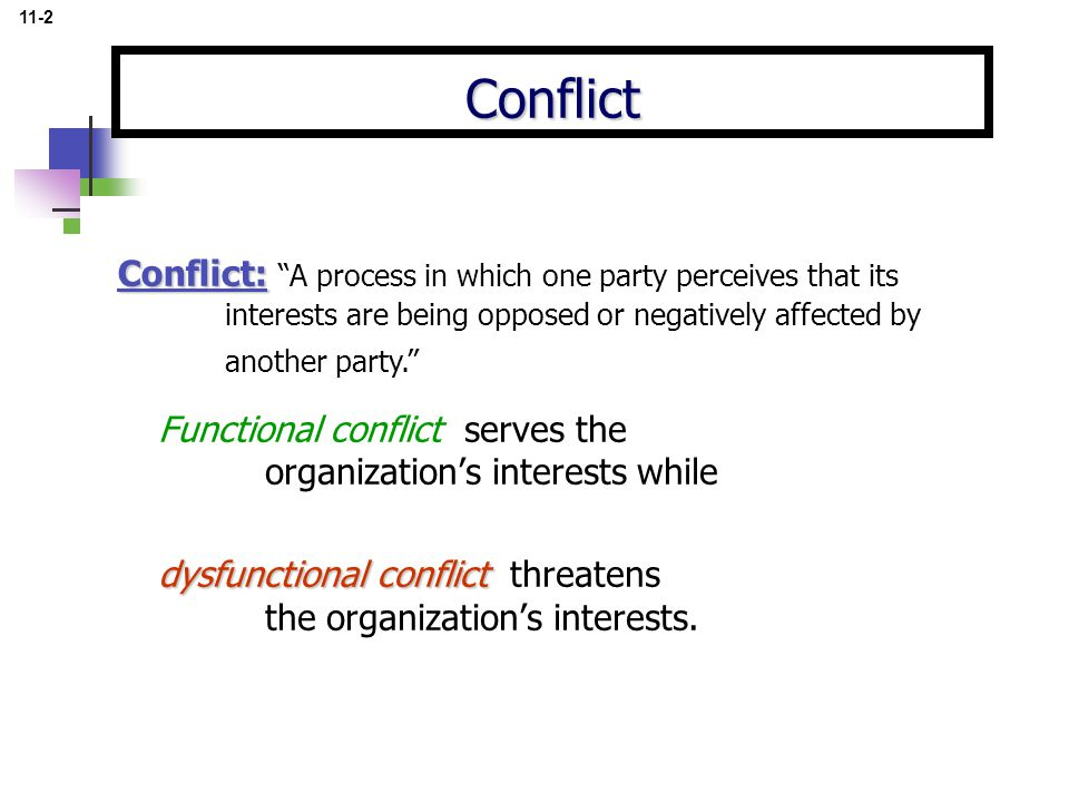 Functional conflict serves the organization's interests while dysfunctional conflict dysfunctional conflict threatens the organization's interests.