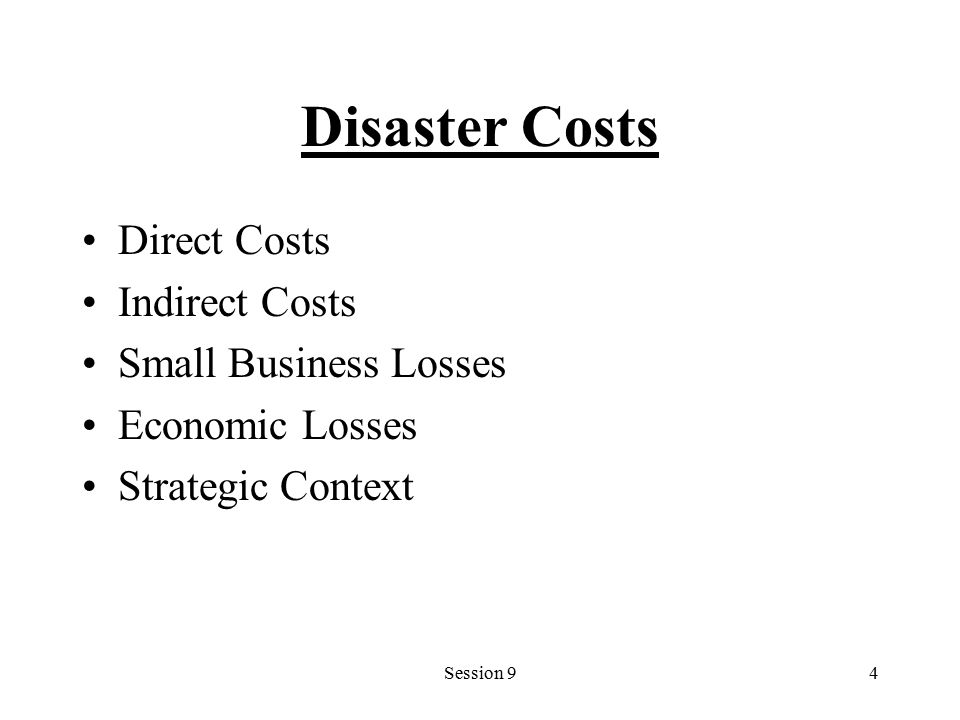 Session 94 Disaster Costs Direct Costs Indirect Costs Small Business Losses Economic Losses Strategic Context
