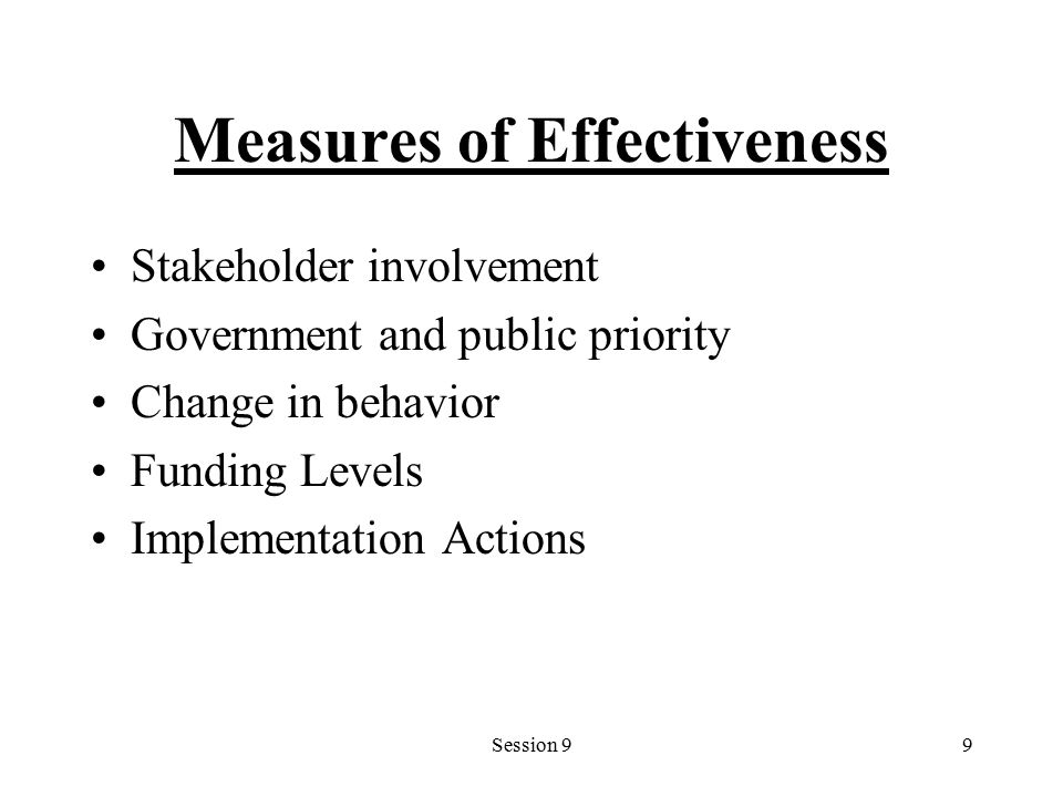 Session 99 Measures of Effectiveness Stakeholder involvement Government and public priority Change in behavior Funding Levels Implementation Actions
