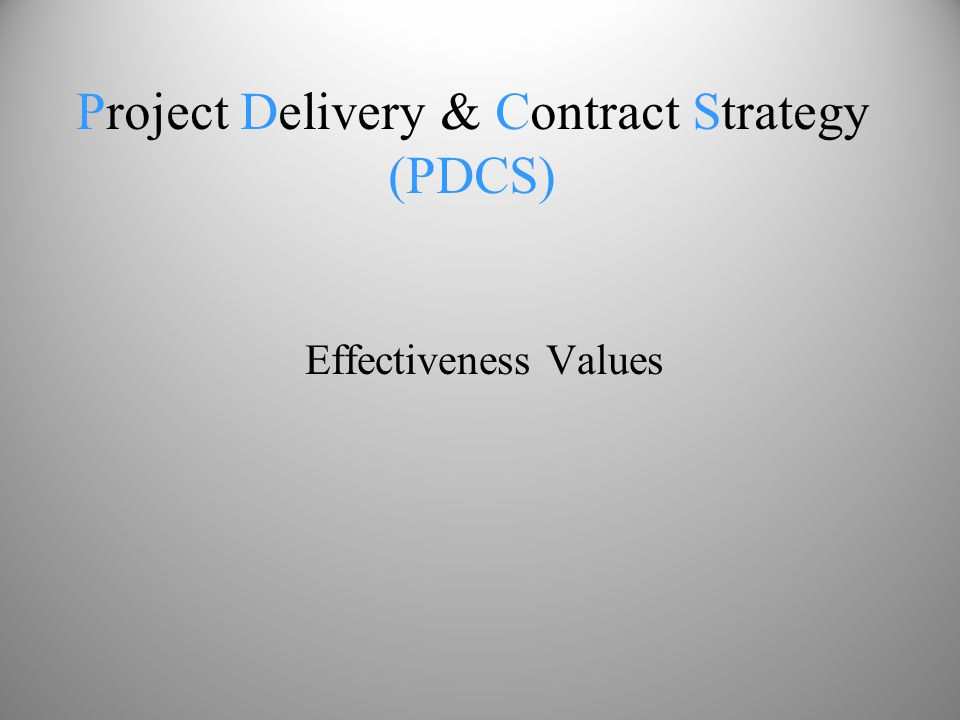 Effectiveness Values Project Delivery & Contract Strategy (PDCS)
