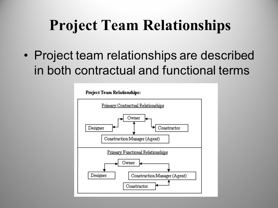 Project Team Relationships Project team relationships are described in both contractual and functional terms