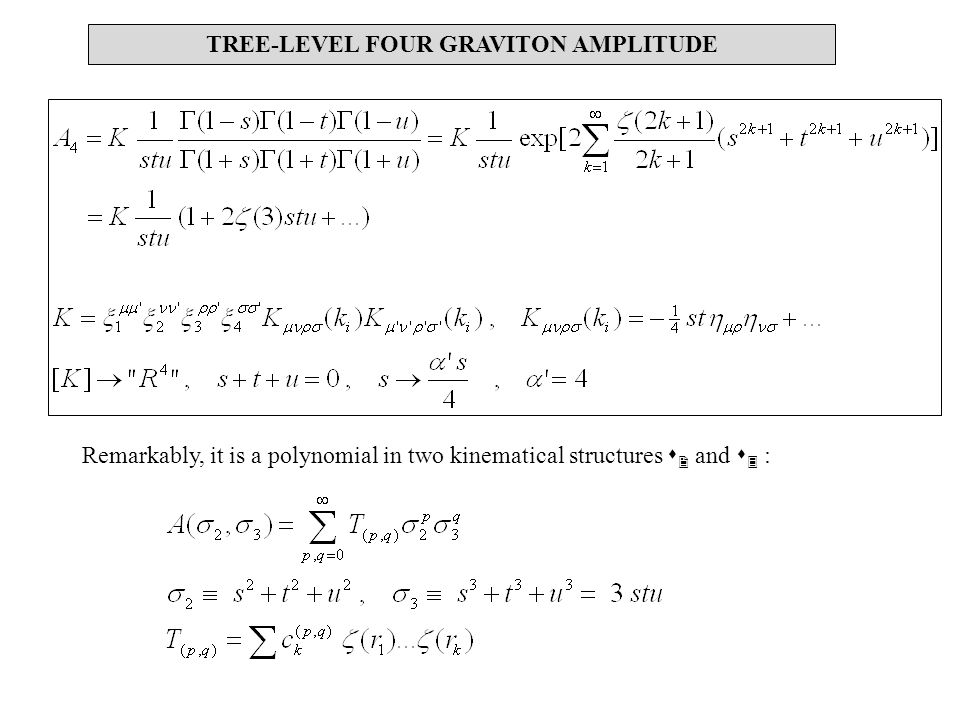 TREE-LEVEL FOUR GRAVITON AMPLITUDE Remarkably, it is a polynomial in two kinematical structures s 2 and s 3 :