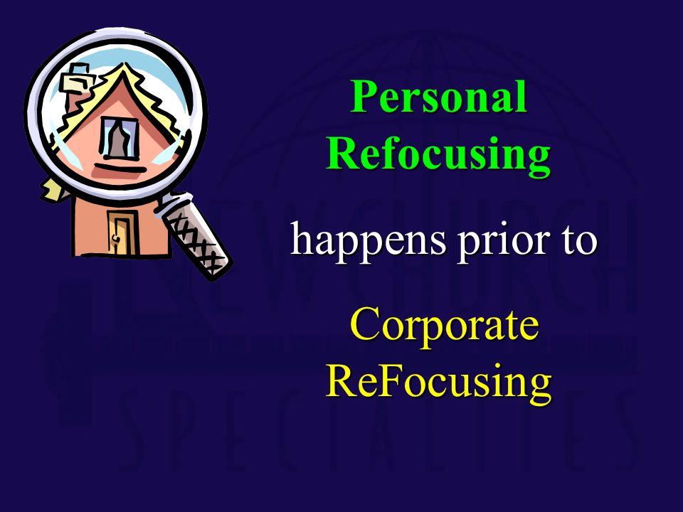 Personal Refocusing happens prior to happens prior to Corporate ReFocusing Corporate ReFocusing