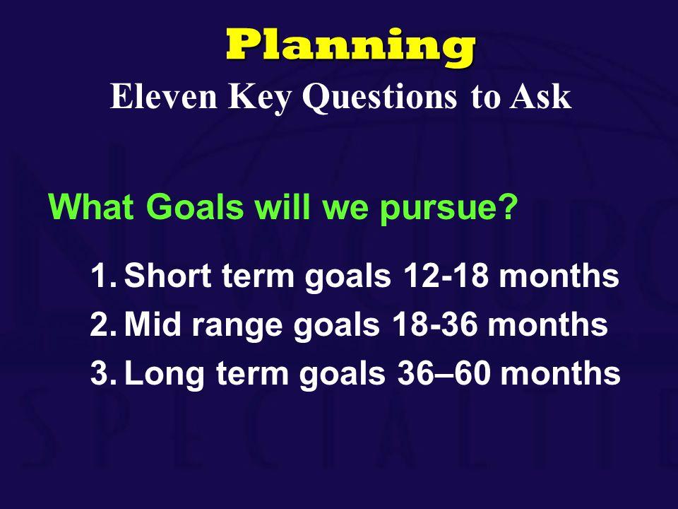 What Goals will we pursue? 1.Short term goals 12-18 months 2.Mid range goals 18-36 months 3.Long term goals 36–60 monthsPlanning Eleven Key Questions