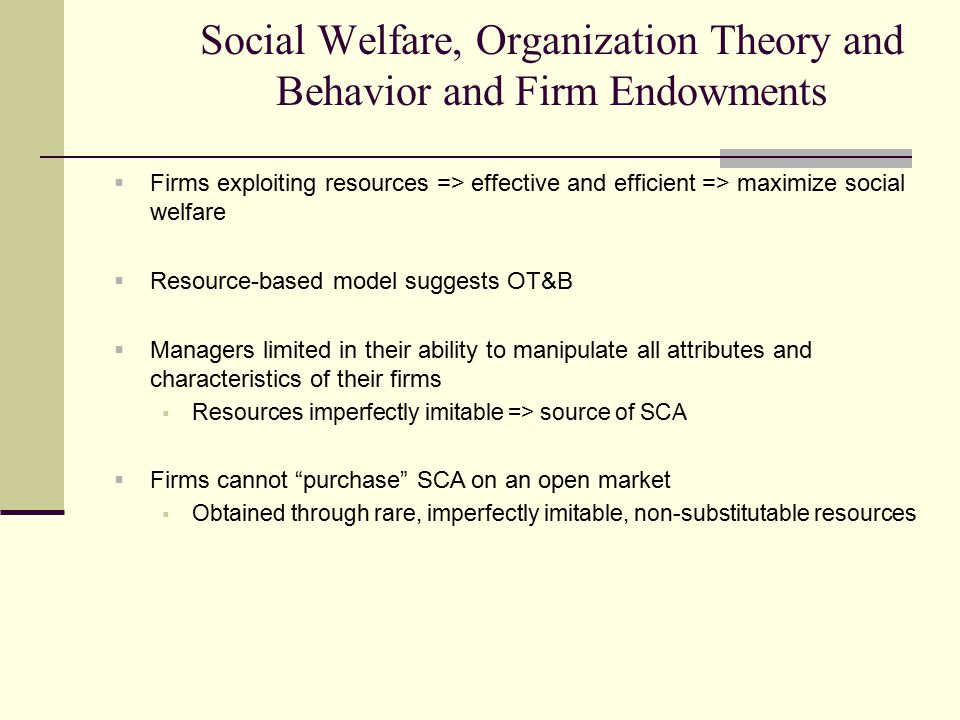 Social Welfare, Organization Theory and Behavior and Firm Endowments  Firms exploiting resources => effective and efficient => maximize social welfar