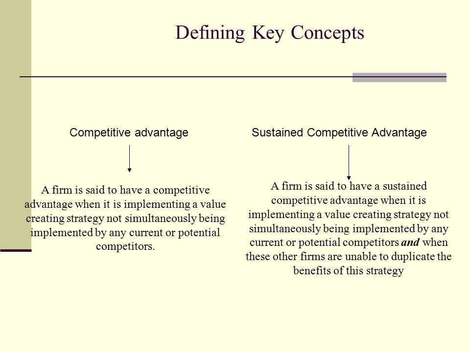 Defining Key Concepts Competitive advantage A firm is said to have a competitive advantage when it is implementing a value creating strategy not simul