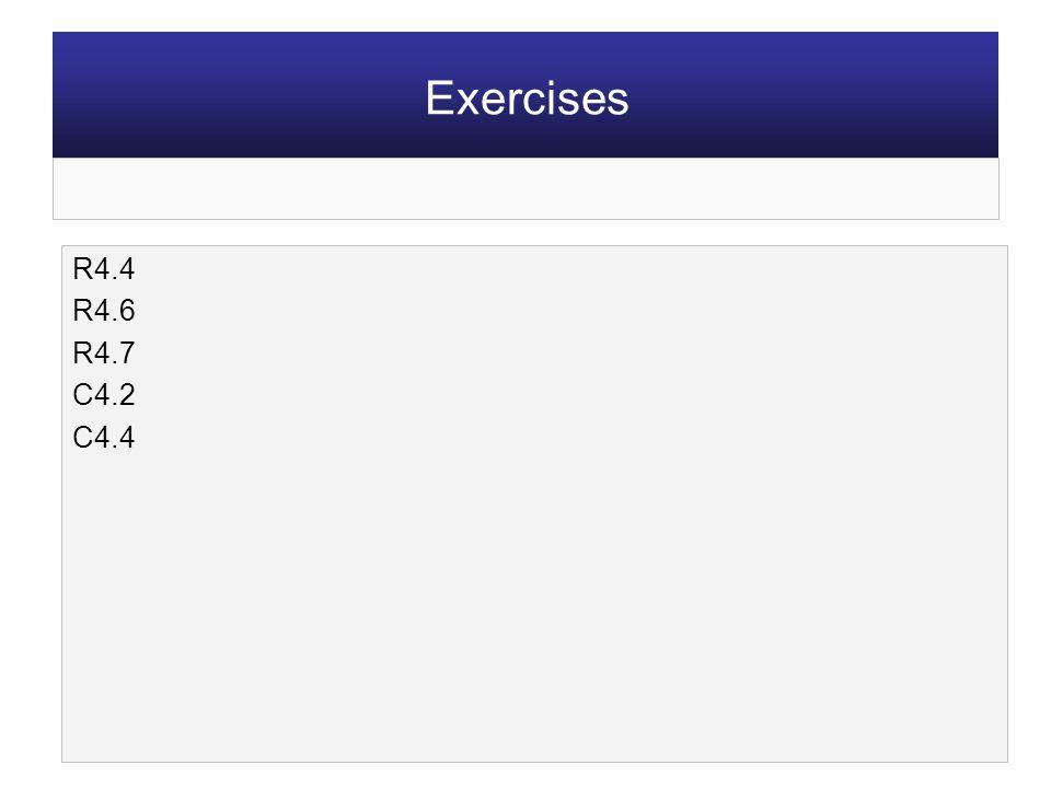 R4.4 R4.6 R4.7 C4.2 C4.4 Exercises