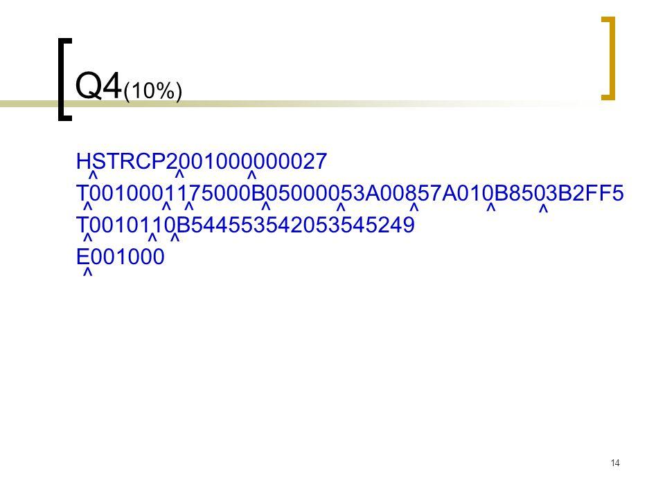 14 Q4 (10%) HSTRCP2001000000027 T0010001175000B05000053A00857A010B8503B2FF5 T0010110B544553542053545249 E001000 ^ ^ ^ ^^^^ ^^^ ^^^ ^ ^