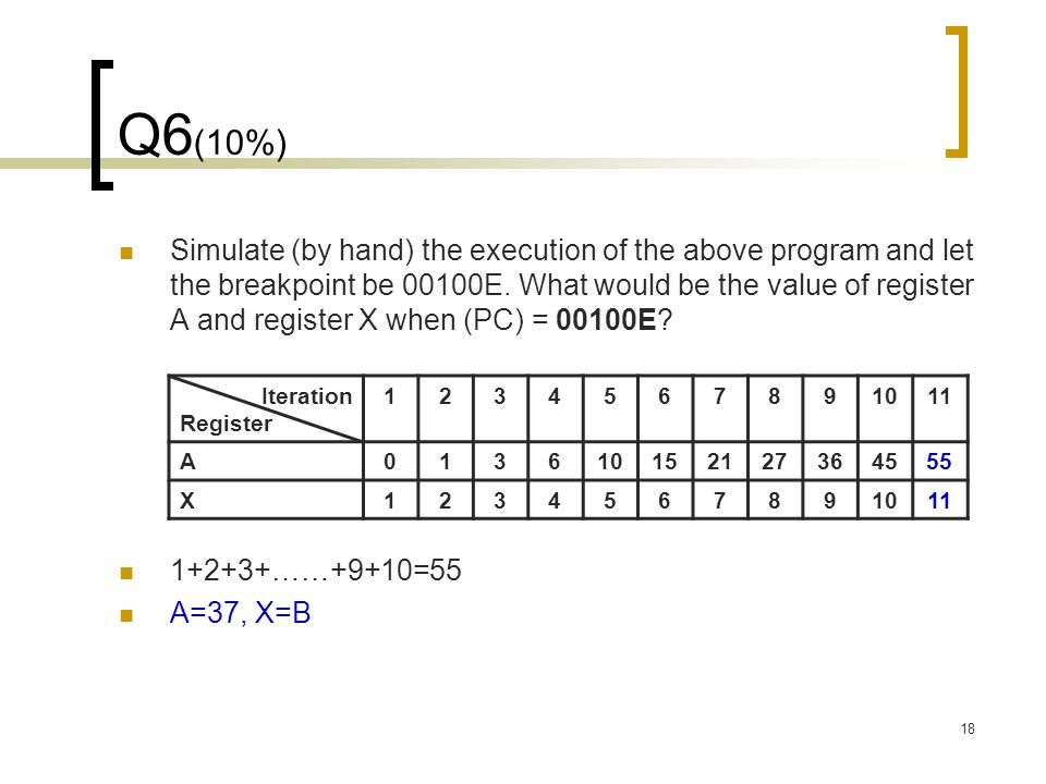 18 Q6 (10%) Simulate (by hand) the execution of the above program and let the breakpoint be 00100E. What would be the value of register A and register