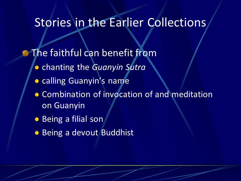 Types of rewards or benefits Escape from fire and other disasters such as peril of the water —drown because of shipwreck gain a new and good voice to chant and recite sutras Deliverance from being killed and from other life-threatening situations Release from shackles Diseases cured Have vision of Guanyin and is helped, saved, or rescued