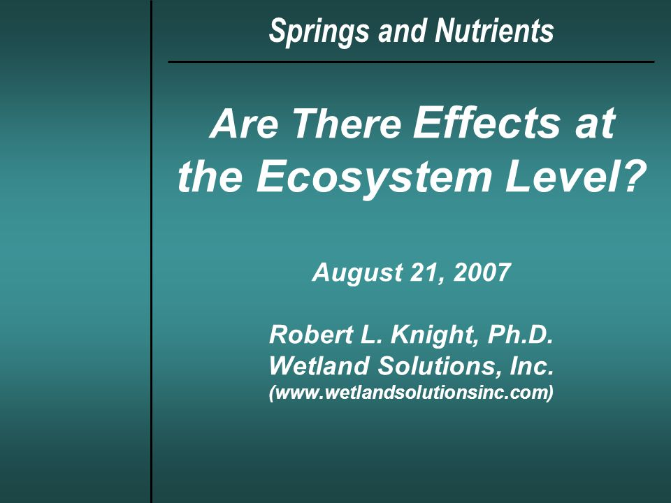 Are There Effects at the Ecosystem Level. August 21, 2007 Robert L.