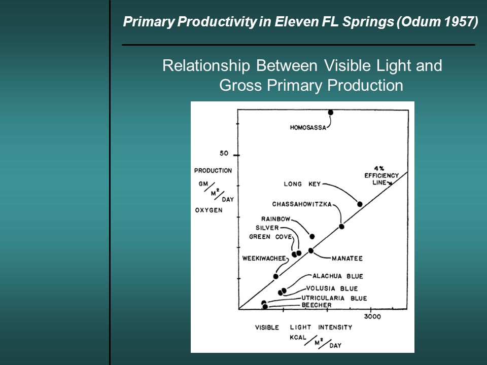 Primary Productivity in Eleven FL Springs (Odum 1957) Relationship Between Visible Light and Gross Primary Production
