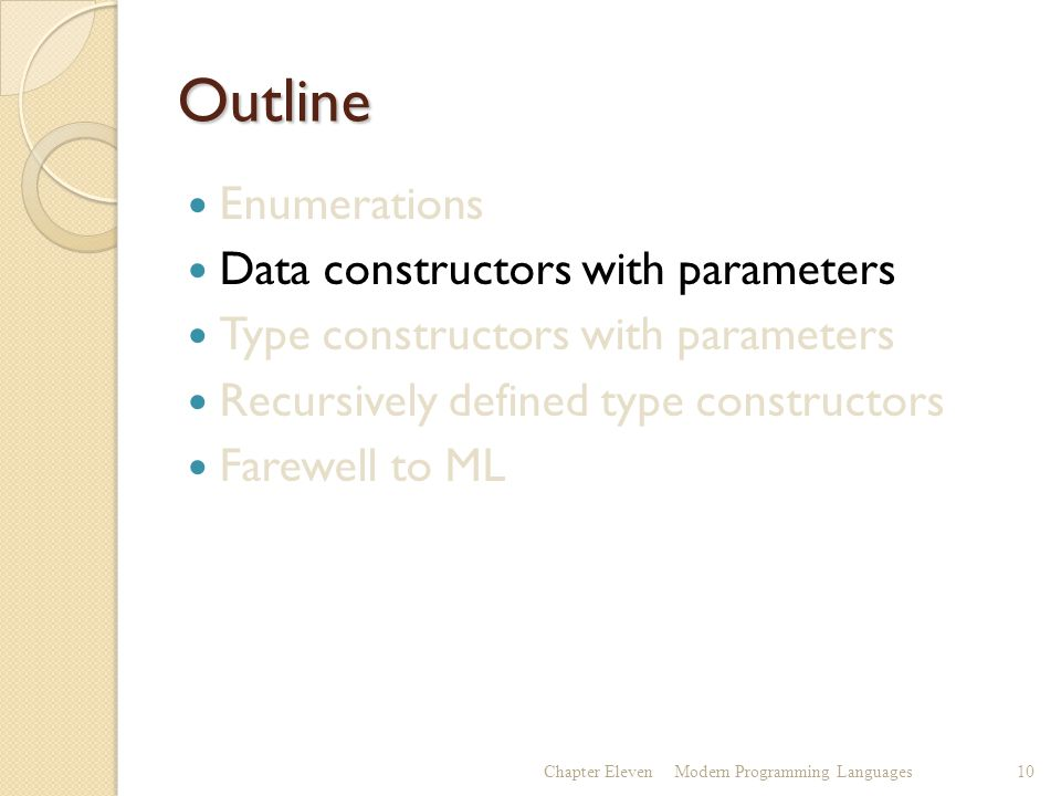 Outline Enumerations Data constructors with parameters Type constructors with parameters Recursively defined type constructors Farewell to ML Chapter ElevenModern Programming Languages10